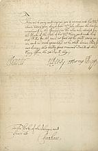 PEPYS, SAMUEL - Document signed , to the Clerk of the stores at Chatham