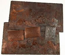 ETCHED COPPER PLATES - INCL. LOUIS WAIN - A collection of etched copper plates, including two for a print by...