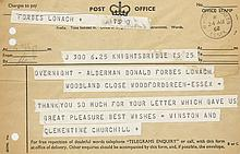 CHURCHILL, WINSTON - Post Office Telegram from Winston Churchill and his wife...
