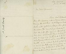 BANKS, JOSEPH - Autograph letter signed to 'my dear General'
