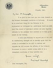 CHURCHILL, WINSTON - Typed letter signed to John Pennington regarding Mr