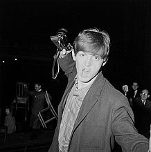 MCCARTNEY, PAUL - Black and white photograph by Eve Bowen of Paul McCartney holding...