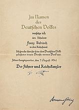 HITLER, ADOLF AND HERMANN GÖRING - Wartime document congratulating Franz Babioch on his retirement...