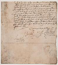 ELIZABETH I PRIVY COUNCIL - Lower portion of a Privy Council document signed by Robert Deveraux