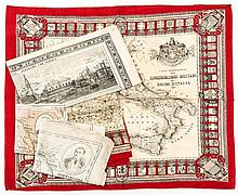 A selection of five printed maps on silk and cotton, four relating to Italy