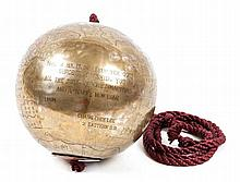 A Chinese brass hanging globe,