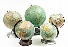 A group of four assorted 20th century terrestrial globes