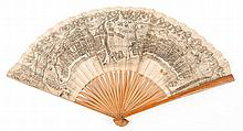 Japanese School. - Fan adorned with plans of Yokohama and Kobe, recto and verso,