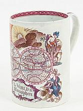 An English pearlware cylindrical mug, printed in puce and painted in colours