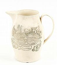 An English creamware printed ovoid jug, possibly Wedgwood