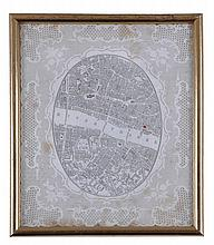 New Coal Exchange opening ceremony ticket bearing a map of the City of London and Southwark,