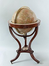A fine pair of Victorian 18 inch floor-standing library globes by Thomas...