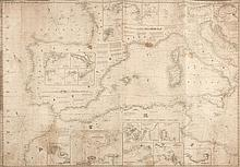 British Admiralty. - 3 charts of the Western Mediterranean, the East Coast of England, and Southern Ireland,