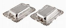A pair of silver miniature entree dishes, maker's