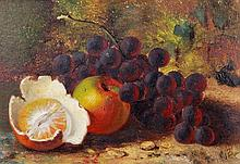 Charles Thomas Bale (fl. 1866-1875) - A still life of apples and grapes on a mossy bank; A still life of apples, grapes, and a tangerine