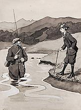 Silver (early 20th century) - Angling scene