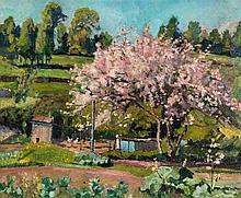 John Anthony Park ROI RBA (1880-1962) - Market garden with blossoming cherry tree