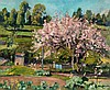 John Anthony Park ROI RBA (1880-1962) - Market garden with blossoming cherry tree