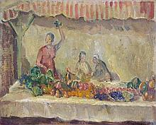 Alfred Robert Hayward (1875-1971) - A vegetable stand in a market