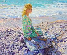 Yuri Krotov (b. 1964) - Young lady at the seaside