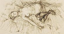 Peter Kuhfeld (b. 1952) - Reclining nude with black stockings