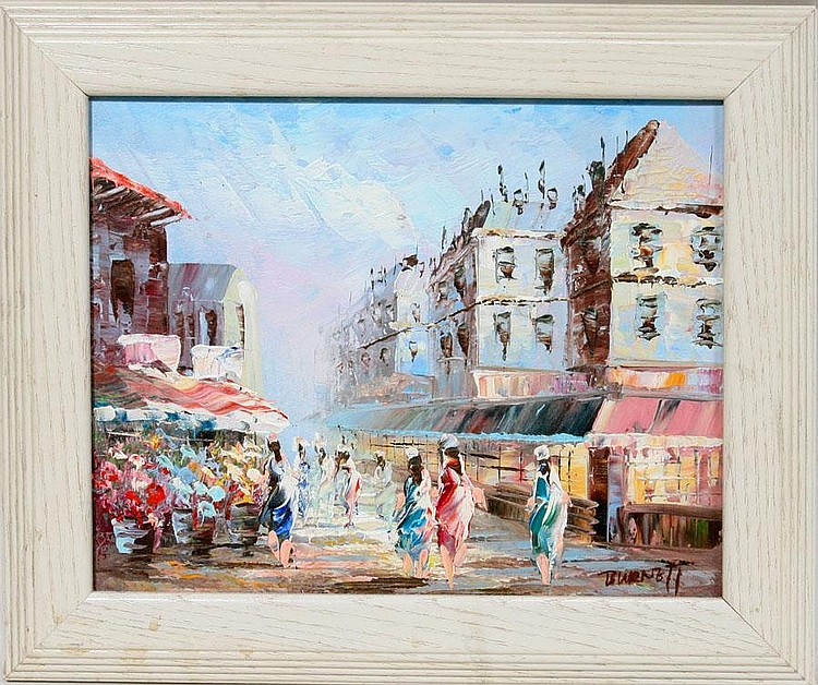 CAROLINE BURNETT, OIL ON CANVAS, STREET SCENE, C.