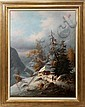 LUDWIG MUNINGER, OIL ON CANVAS, ALPINE WINTER SCENE WITH HIKERS, 40