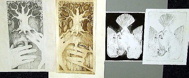 MICHAEL KOZMIUK, 3 ETCHINGS & 1 PREPARATORY PENCIL DRAWING FOR 1 OF THE ETCHINGS, EARLY 1970'S: