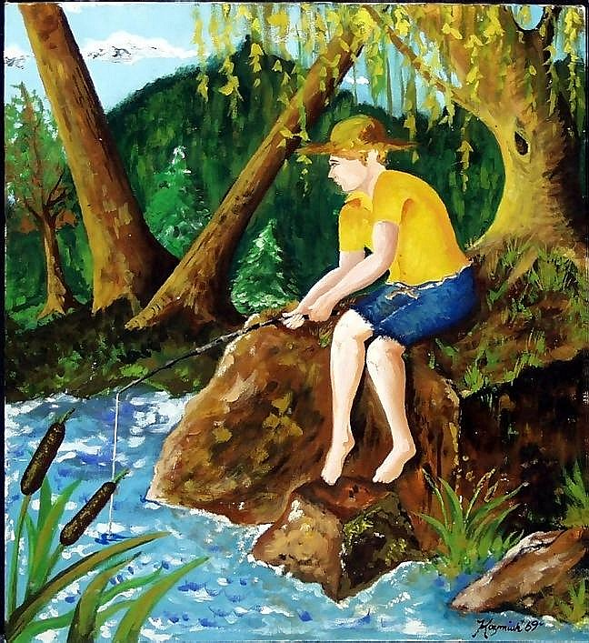 MICHAEL G. KOZMIUK, OIL ON ARTIST BOARD, 1969, 20in X 16in, BOY FISHING: