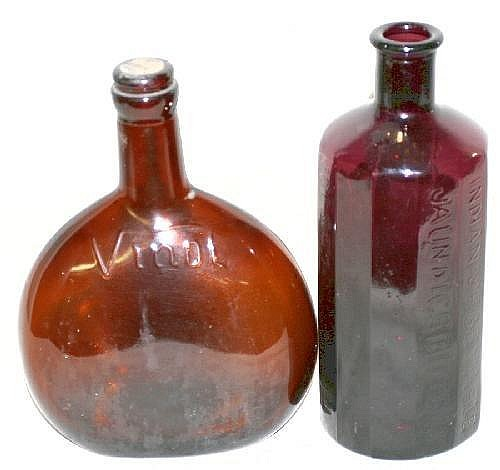 JAUNDICE BITTERS BOTTLE COL SAM JOHNSON ALEXANDRIA, VA, 1852, H 7in Lavender hand blown bottle impressed: