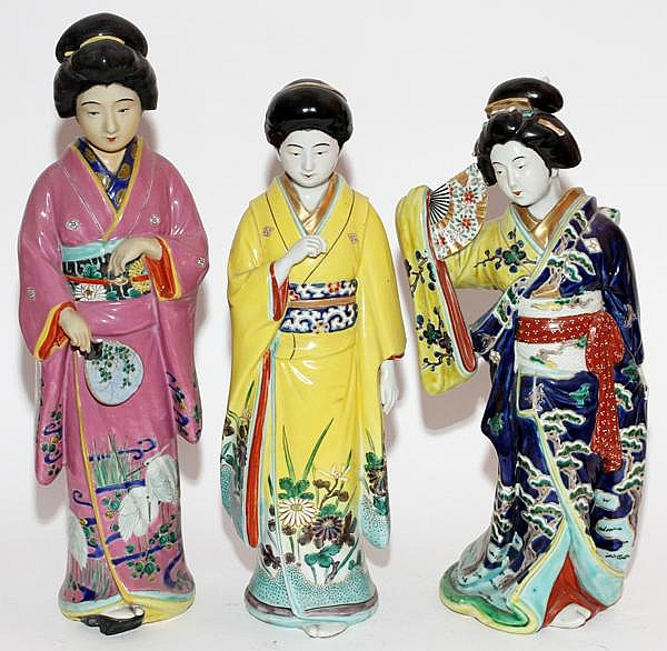 "JAPANESE PORCELAIN GEISHAS, THREE, H 18"" & 20"""