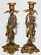 FRENCH CHINOISERIE ORMOLU FIGURAL CANDLESTICKS, 19TH C., PAIR, H 11 1/2