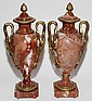 FRENCH MARBLE & BRONZE-MOUNTED COVERED URNS, 19TH C., PAIR, H 20