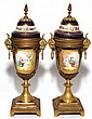 SEVRES PORCELAIN & BRONZE-MOUNTED URNS, C. 1920, PAIR, H 11 1/2