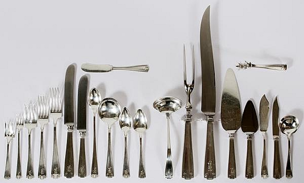 GORHAM 'ETRUSCAN' STERLING FLATWARE SET, 172 PIECES, SERVICE FOR TWELVE