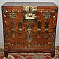 KOREAN ANTIQUE ELMWOOD BLANKET CHEST, H 38