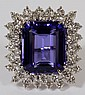 18.95CT NATURAL TANZANITE & 2.00CT DIAMOND RING, 6 1/2