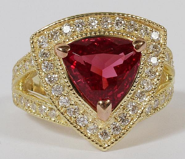 3.88CT NATURAL UNHEATED RED PINK SPINEL & 1.00CT DIAMOND RING, GIA