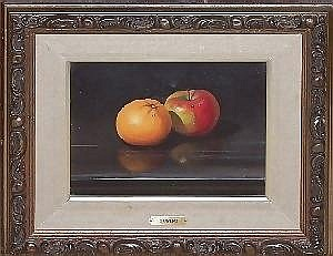 ANTONIO GUSINI, OIL ON CANVAS, 8in X 10in, STILL  LIFE OF ORANGE AND APPLE: Original canvas.
