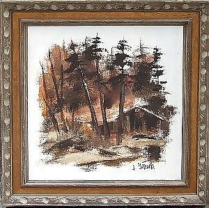 J. OCHOCKI, OIL PAINTING 19in X 15in WOODS:  Contemporary.