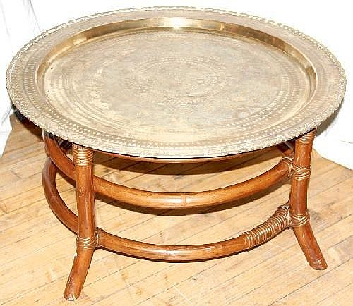 ORIENTAL ROUND BRASS TRAY & BAMBOO COFFEE TABLE, H 15in. DIA
