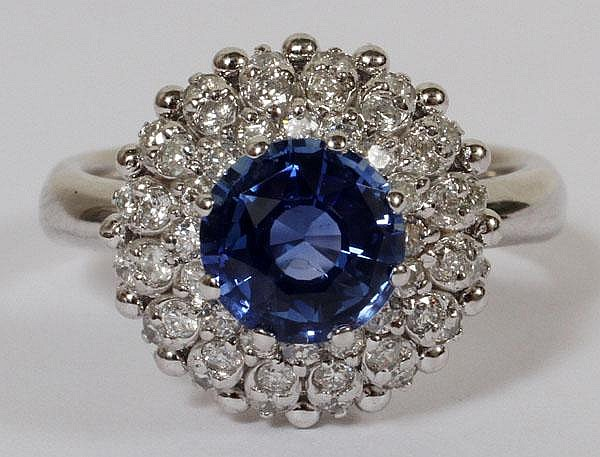 1.70CT NATURAL UNHEATED SAPPHIRE & 1.10CT DIAMOND RING, 6 1/4, GIA