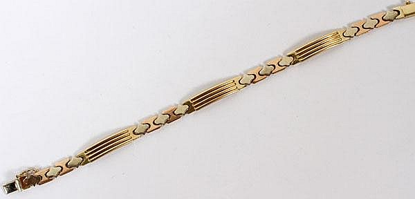 ITALIAN 14KT TRI COLOR GOLD BRACELET