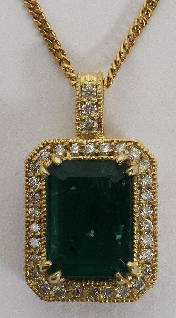 8.06CT NATURAL EMERALD & 2.00CT DIAMOND PENDANT, W 1/2