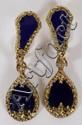 BLUE ENAMEL AND DIAMOND CLIP ON EARRINGS