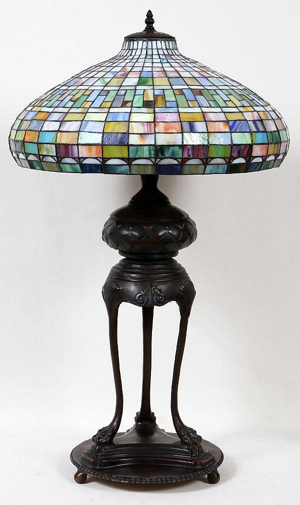 BRONZE LEADED GLASS LAMP, MODERN, H 44
