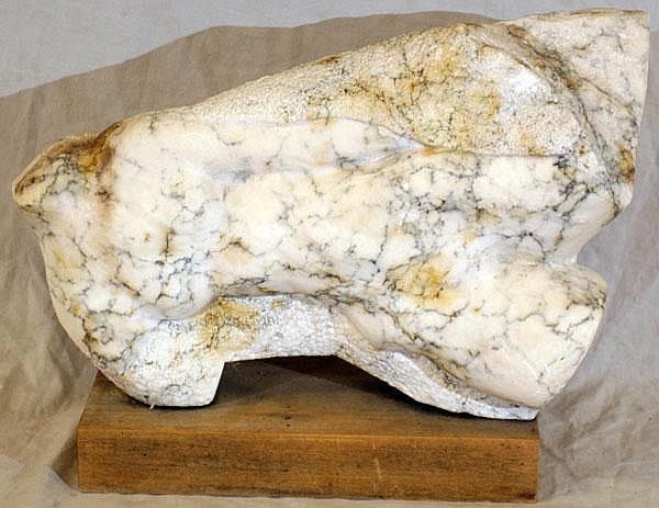 CARVED WHITE MARBLE SCULPTURE OF NUDE FEMALE TORSO, H 10