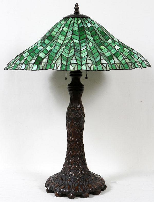 ART LEADED GLASS LAMP, MODERN, H 35