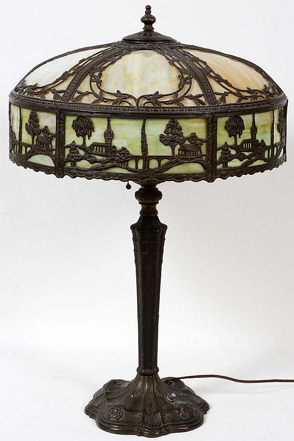 VINTAGE SLAG GLASS TABLE LAMP, H 26
