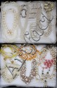 COSTUME PEARL NECKLACES, BRACELETS AND EARRINGS, 17 PIECES TOTAL